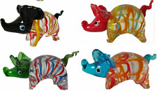 SET OF 4 BRAND NEW HAND BLOWN   GLASS PIGS ORNAMENT in BOX
