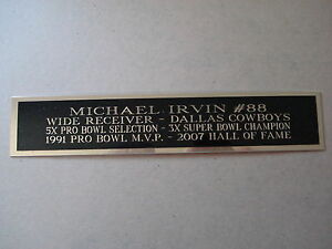 Michael Irvin Cowboys Autograph Nameplate For A Football Display Case 1.5 X 8