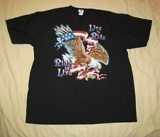 LIVE TO RIDE, RIDE TO LIVE Biker Vintage 1980 / 90s Black t shirt XL 23.5 by 28
