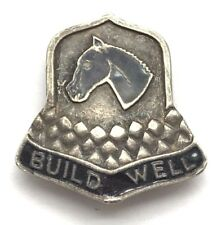 Vintage Oxidized Sterling Silver Badge Bell Enamel Horse Build Well Pin - Brooch
