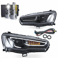 LED Headlights ALL BLACK w/Sequential Turn Sig.+H7 LED Bulbs for 08-17 Lancer