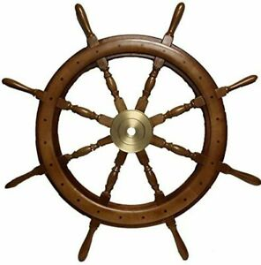 Wooden Ships Wheel 36 Inch Captains Wall Sculpture Vintage Maritime Marine Decor