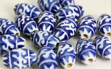 Geometrical  Abstract  Glazed  Beads  -OVAL Hand painted in Peru  V020cb  x10