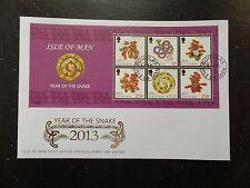 I.O.M. 2013 Year Snake m/sheet P14 1/2 Reprint FDC