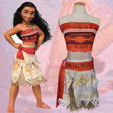 Girls Kids Cartoon Moana Princess Costume Fancy Dress Necklace Party Cosplay Set