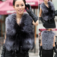 100% Real Genuine Silver Fox Fur Vest Waistcoat Gilet Jacket Coat Women Warm