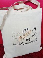 Personalised a Processco Gin thing Mum Nan Teacher Xmas TOTE Cotton shopping Bag