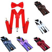 FJ- BL_ Unisex Solid Color Clip-on Elastic Y-Shape Adjustable Suspenders Bowtie