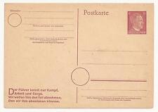 Deutsches Reich HITLER SU CARTOLINA POSTALE NUOVA  POSTKARTE NEW WWII WW2