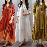 Women Vintage Casual Loose Long Sleeve Cotton Linen BOHO A-Line MAXI Shirt Dress