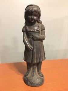 "Antique Victorian 7"" Cast Spelter Primitive Figurine Little Girl Black Patina"