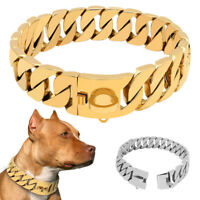 Collare per cane a catena Grande Metallo 30mm Oro P-CHOKE Collare da allenamento