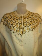 Italian size 40 Cardigan Sweater Heavy Beaded Gold Off White Vintage Chic Party