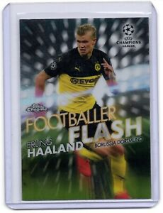 2019-20 Topps Chrome UCL Erling Haaland Footballer Flash mint condition.