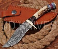 8 INCH UD CUSTOM DAMASCUS STEEL HUNTER KNIFE Stag/ANTLER  HANDLE B1-13117