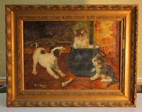 F. LUENGO Ölgemälde Katzen Hund Spanien 19. Jh.