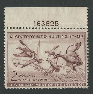RW20, 1953 $2.00 Blue -Wing Teal, Plate # single