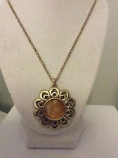 $49 Lucky Brand Gold Tone Citrine Flower Necklace LB1 300