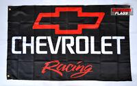 Chevrolet Racing Flag Banner 3x5 ft Chevy American Wall Car Garage Black