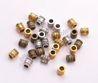 20/50/100Pcs Tibetan Silver Tube Big Hole Spacer Beads Jewelry Finding 6MM D3028