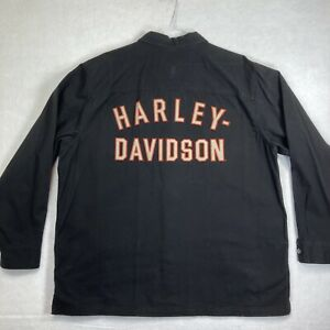 Harley Davidson Men's Long Sleeve Snap Shirt Black Denim Button Shirt XL