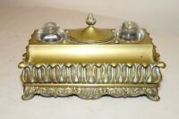 antique 1800's Victorian gilt brass glass desk dual inkwell stand set bronze pen