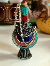 Collection China Tibet Copper Inlaid Turquoise & Other Color Stones Snuff Bottle