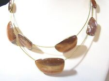 COPPER COLOR ENAMEL GLITTER BAKED IN CONTEMPORARY SIGNED DOUBLE STRAND NECKLACE