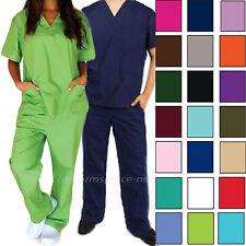 Medical Scrubs Set Unisex Men Women Scrub V-neck Top & Elastic / Drawstring Pant