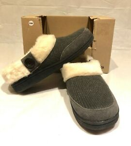 Clarks Womens Grey Knit Leather & Fax Fur Slippers Size 10M Indoor Outdoor sole