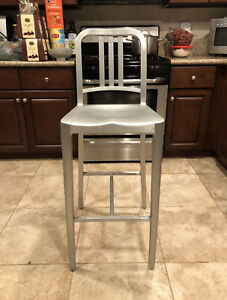 1 Brushed Aluminum Emeco Navy Bar Height Stools 1006