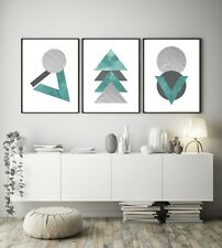 Set of 3 Teal Silver Grey Marble Abstract Home Poster Print Black Decor Wall Art