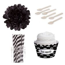 Dress My Cupcake Black Mustache Happy Graduation Dessert Table Party Kit Straw