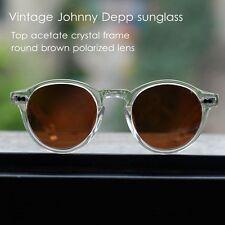 Retro vintage polarized round Johnny Depp sunglasses crystal frame brown lenses