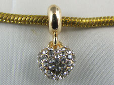 GOLD PLATED DANGLE CHARM WITH RHINESTONES FOR EURO STYLE CHARM BRACELETS #DC 265