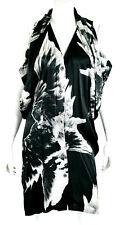 ANN DEMEULEMEESTER Black & White Floral Silk Satin Button Front Dress 40
