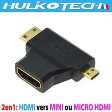 Adaptateur Adapter Convertisseur 2en1 MINI+MICRO HDMI MALE / HDMI FEMELLE 1080p