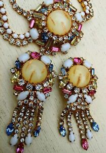 Vintage Signed Hobe Bejeweled Festoon Necklace & Earrings Aventurine