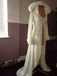 Long White or Ivory Velvet Winter Wedding Coat Cape Fur trim Hood Bridal