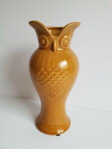 Hosley Pottery 10 Inch Owl Pottery Vase Vintage