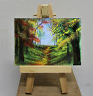 ACEO Original Forest Landscape Trees Path Woods Painting Art by Rain Crow