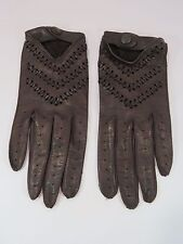 Nordstrom Women's Brown Leather Gloves Snap Close Pattern Wrist Made in Italy HC