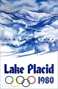 Olympics Lake Placid 1980 New York Vintage Poster Print Retro Winter Sports Art