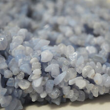 "36 ""SEMI PRÉCIEUX GEMME Bleu Dentelle Agate Chips Perles 10mm"