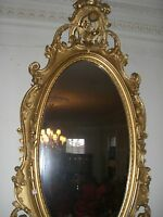 Antique mirror fine  gilt wood scrolled leafage rococco French 19th  c.  Pair