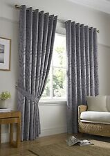 Silver Woven Jacquard Trailing Leaf Ring Top Curtains *9 Sizes8 46x72
