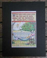 """Mary Engelbreit Print Matted 8 x 10"""" """"Who Lives Well"""" Man"""