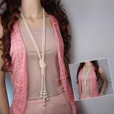 Moda Mujer Largo Cristal Cuentas Suéter Cadena Colgante Collar Varias Capas