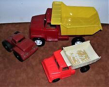 3 Plastic Trucks American Plastics Dump Truck, Halsam Truck Cab MPC Dump Truck