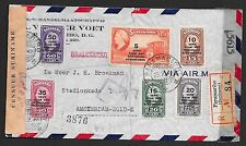 Surinam covers 1945 NVPH 214-219  censored Airmailcover to Amsterdam